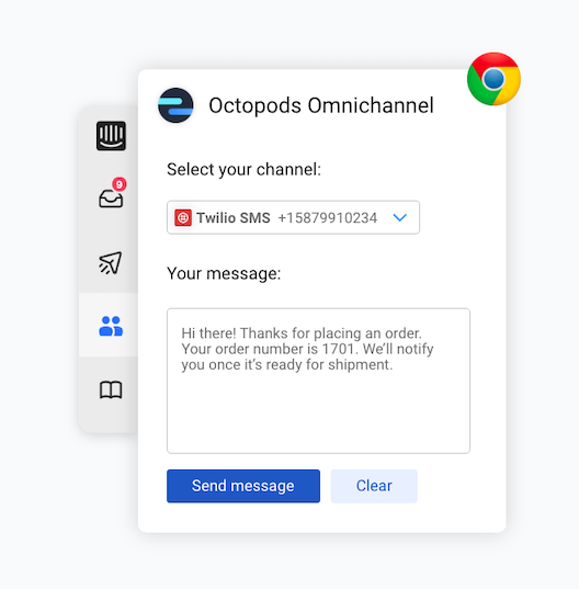 Web browser extension for the Octopods proactive messaging feature